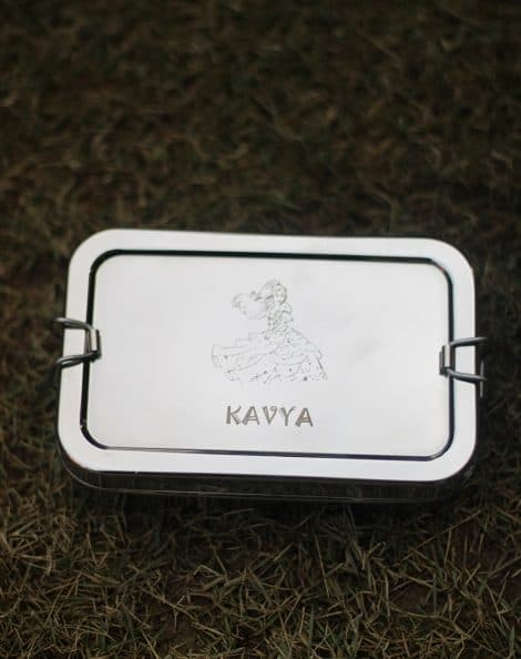 Personalized steel tiffin- silver